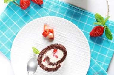 Roulé au chocolat, fraises & chantilly-Mascarpone