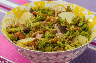 Salade de pommes de terre, brocolis et champignons