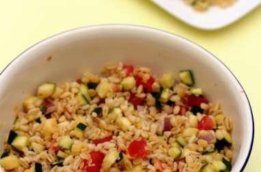 Salade de blé, lentilles corail, courgette et tomates