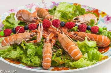 Salade de langoustines aux fruits rouges