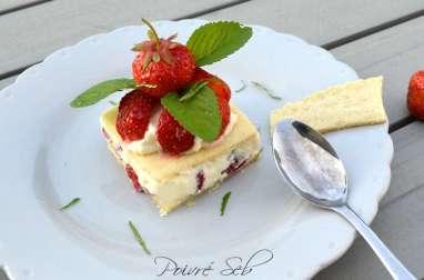 Carré frais de fraises au chocolat blanc