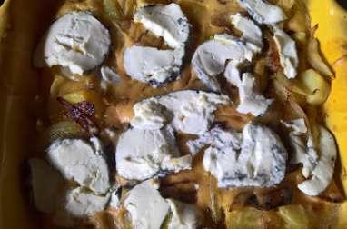 Clafoutis aux pommes de terre et chèvre cendré