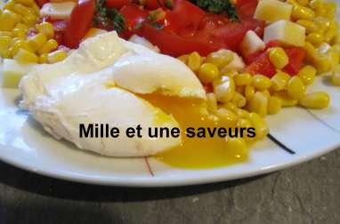 Oeuf poché et sa petite salade