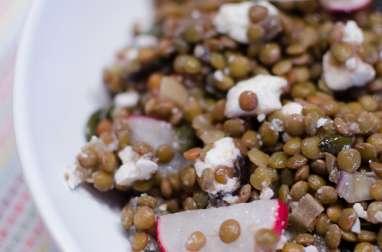 Salade de lentilles à l'aubergine, à la feta et au citron confit