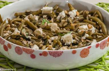 Salade de haricots verts à la fêta et aux graines