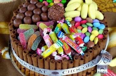 Gâteau d'anniversaire straciatella et bonbons