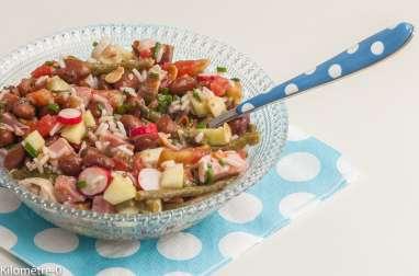 Salade de haricots borlotti, riz et légumes d'été