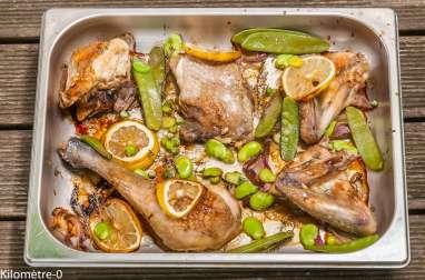 Poulet rôti au citron et légumes verts