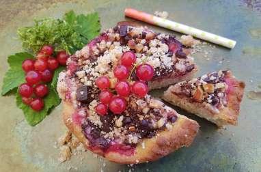 Streusel chocolat amande et coulis de groseille