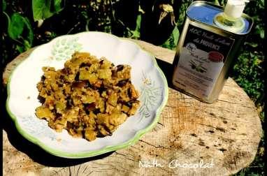 Aubergines à l'huile d'olive, ail et basilic