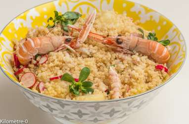 Quinoa aux pêches et langoustines