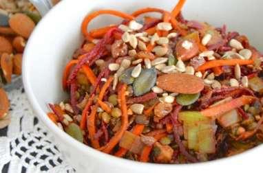 Salade de lentilles, poireaux, carotte, betterave et orange