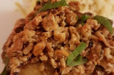 Poulet rôti au safran, noisettes et miel