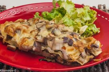Lasagnes jambon, aubergines et cèpes