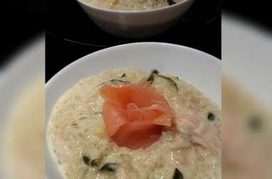 Risotto crémeux aux courgettes parmesan et saumon fumé