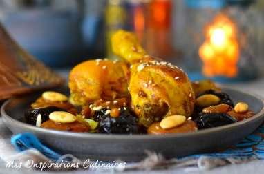Tajine de poulet aux abricots et raisins secs