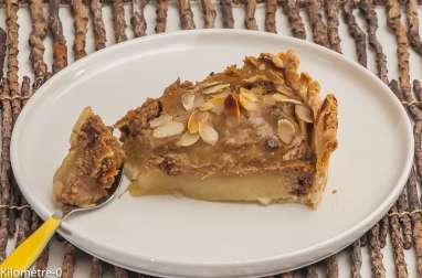 Tarte aux poires, châtaignes, chocolat et amandes