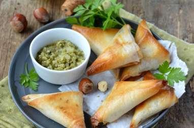 Samossas aux salsifis, noisettes et persil