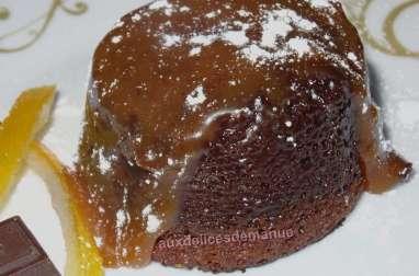 Coulant chocolat à l'orange cœur caramel au beurre salé