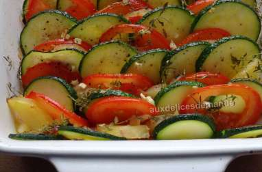 Tian de courgettes, pomme de terre, tomate, chorizo et mozzarella