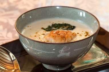 St-Jacques rôties, velouté de topinambours au lait de coco-curry