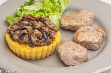 Filet mignon de porc aux cèpes et à la polenta