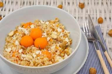 Boulghour de riz, châtaignes, courge, noisettes, feta, Cléopatra Dukkah