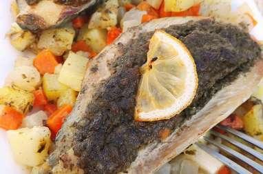 Maquereaux gratinés aux petits légumes et sauce champignons