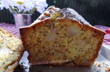 Cake aux poires et pavot bleu, glaçage orange-pavot