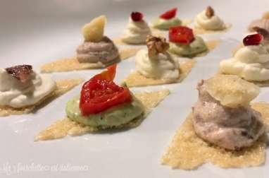 Toasts de parmesan et crèmes gourmandes