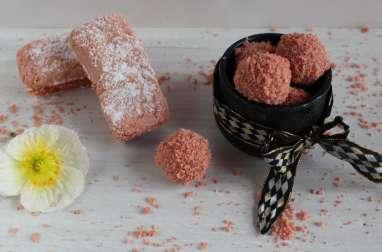 Les jolies truffes roses aux biscuits de Reims