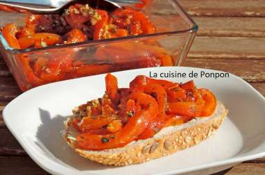 Poivron mariné à l'huile d'olive, ail et origan