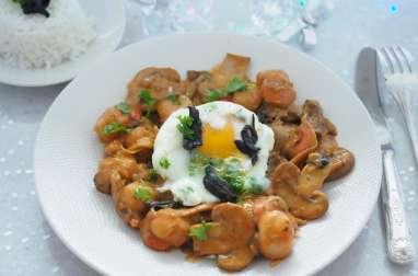 Saint jacques aux œufs pochés et champignons de Dali