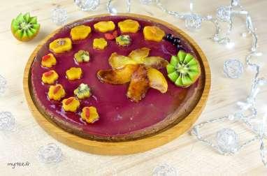 Entremets framboises et mousse au chocolat vegan