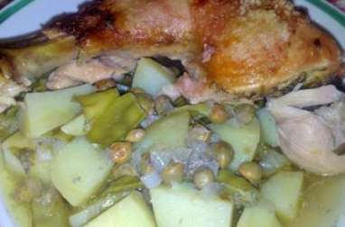 Poulet rôti aux petits pois sans gluten