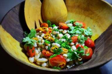 Salade tiède haricots tarbais aux herbes