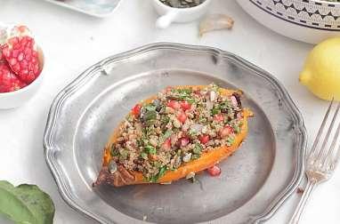 Patates douces rôties farcies de salade de quinoa