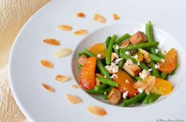Salade de haricots verts, oranges sanguines, fêta et tofu fumé