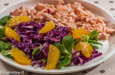 Salade de chou rouge, orange et saumon