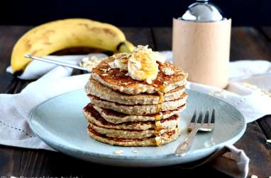Pancakes express banane et flocons d'avoine