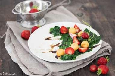 Salade de blettes melon et fraises