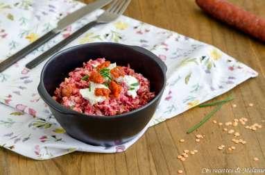 Salade composée aux lentilles corail, betterave, chèvre et chorizo