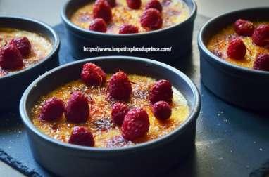Crème brûlée au miel, safran et framboises