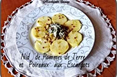 Nid de pommes de terre et poireaux aux escargots