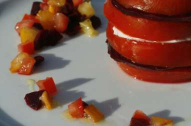 Millefeuille Tomates Betterave Mozarella