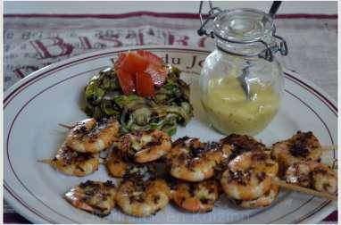 Brochettes de Crevettes marinées à la plancha