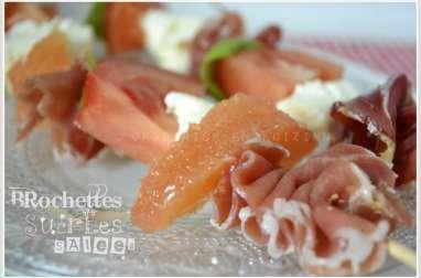 Brochette de jambon tomate et mozzarella