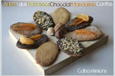 Sablés aux fruits secs, chocolat et mandarine confite