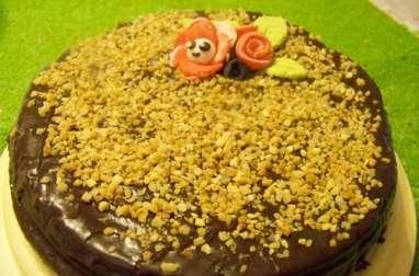 Gâteau chocolat, confiture de clémentines corses, glaçage fondant choco