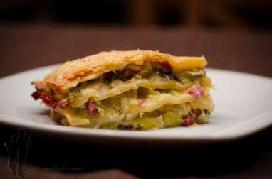 Lasagnes aux poireaux et aux lardons